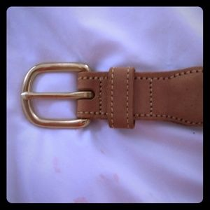 Tan leather and canvas belt with duck print